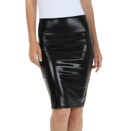 Sakkas Women's Shiny Metallic Liquid High Waist Pencil Skirt - Black - - Gold Metallic Skirt