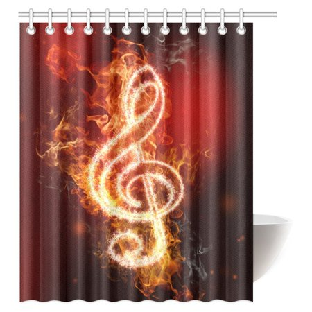 Mypop Music Decor Shower Curtain Modern Musical Artwork Clroom Note Theme Grunge Jazz Musician