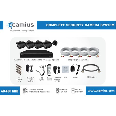 Pc Based Dvr System (Camius HD DVR security camera system with 4 Outdoor Cameras with Night vision, PC Mac Mobile view and access (without Hard drive) )