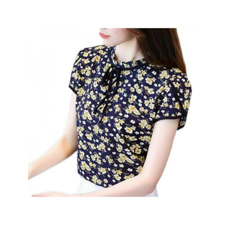 VICOODA Womens Retro Floral Print Chiffon Short Sleeve Blouse Ruffled Collar Tie up Work Shirt Tops Ruffle Print Tee