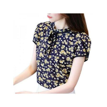 VICOODA Womens Retro Floral Print Chiffon Short Sleeve Blouse Ruffled Collar Tie up Work Shirt Tops Floral Print Ruffle Top