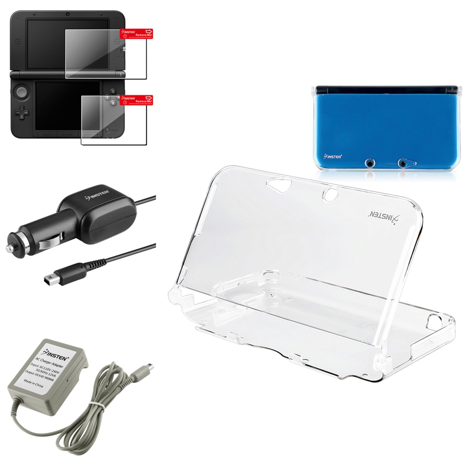 Car Charger For Nintendo 3DS XL + Clear Crystal Case + 2 LCD Screen Protector by Insten