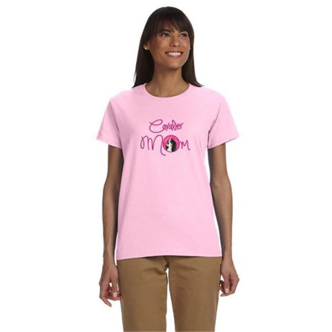 Carolines Treasures LH9369PK-978-M Pink Cavalier Spaniel Mom T-Shirt Ladies Cut Short Sleeve, Medium - image 1 of 1