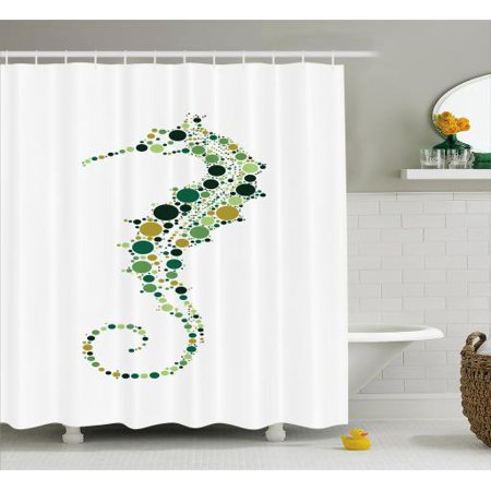 Seahorse Shower Curtain Pointillist Technique Hippocampus Design In Pastel Colors Ocean Wildlife Theme Fabric Bathroom Set With Hooks 69W X 84L Inches