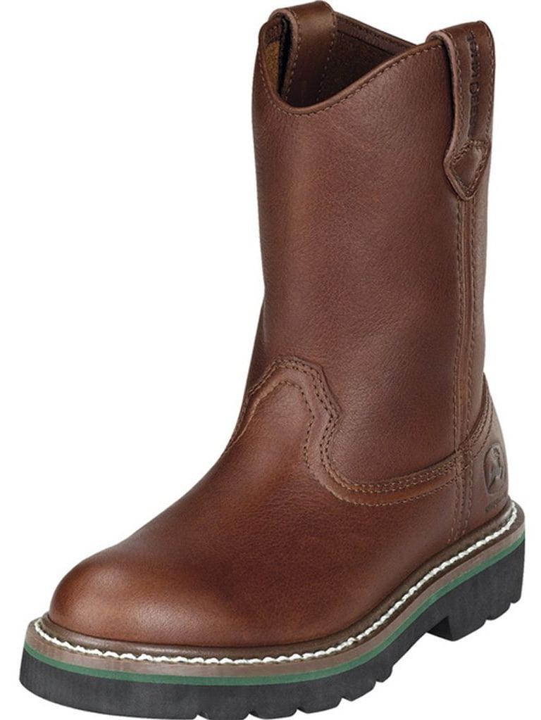 John Deere Western Boots Boys Kids Cowboy Round Toe Walnut JD2113 by John Deere