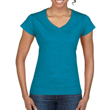 Gildan Softstyle Women's Short Sleeve Fitted V-Neck T-Shirt Dad Womens Fitted T-shirt