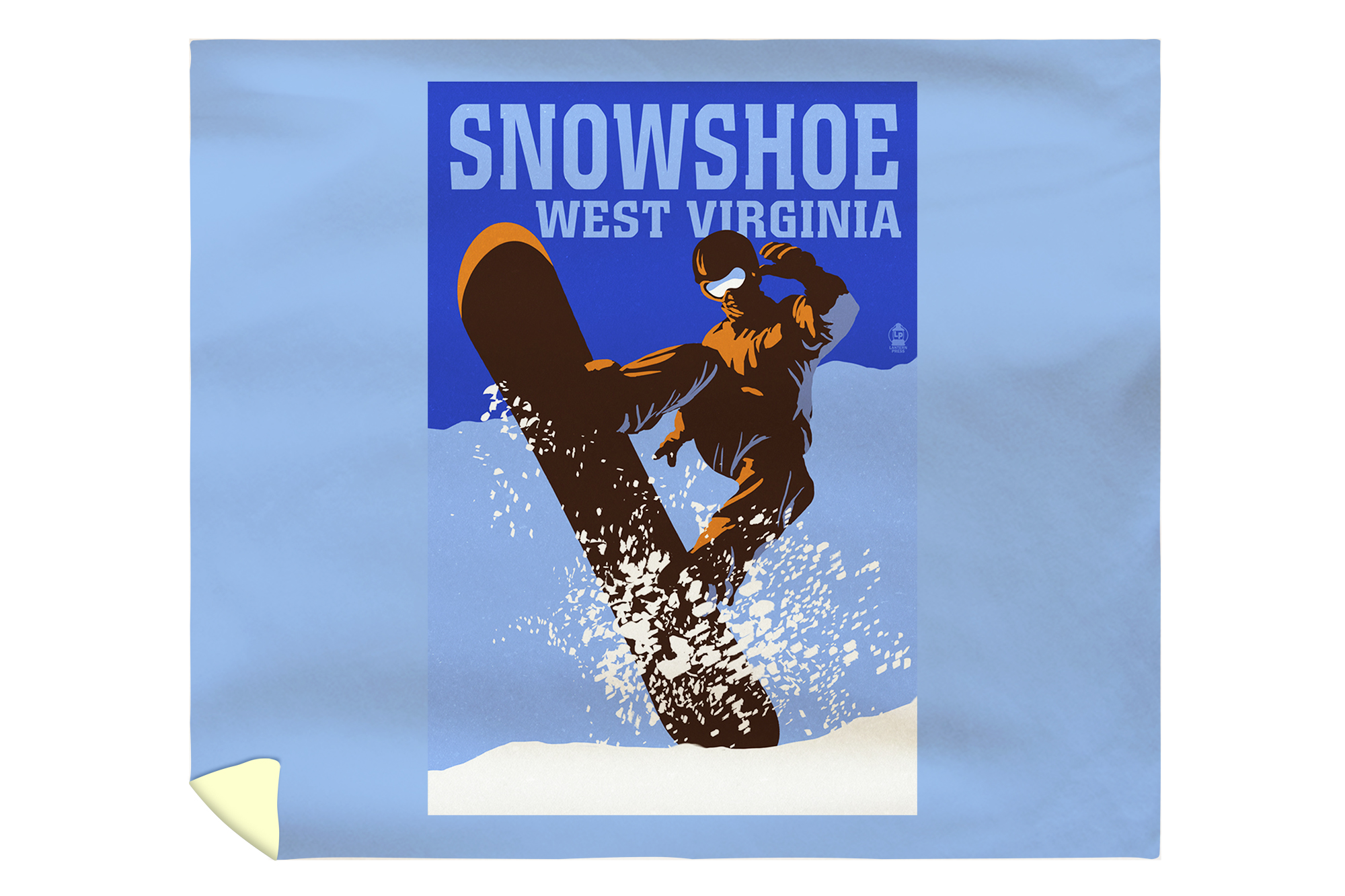 Snowshoe, West Virginia Colorblock Snowboarder Lantern Press Artwork (88x88 Queen Microfiber Duvet Cover) by Lantern Press