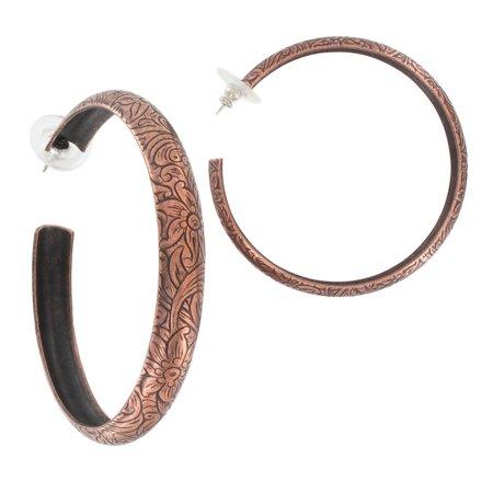 Floral Embossed Copper Ox Tone Pierced Hoop Earrings  2 1/4