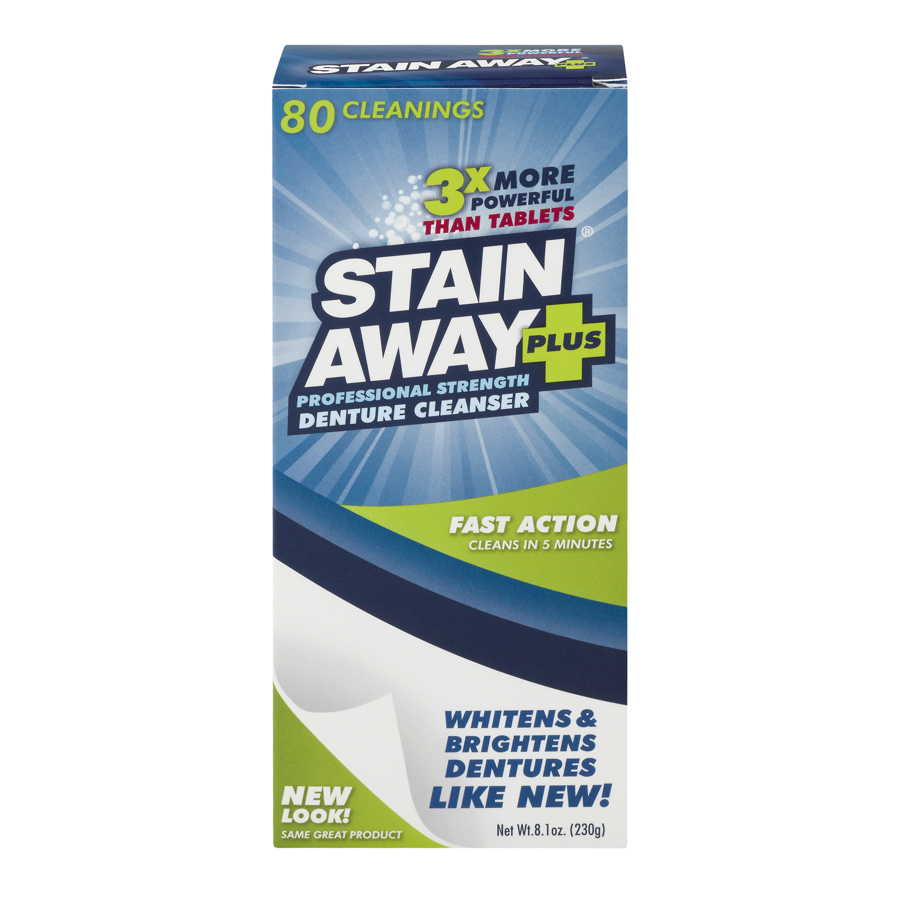 Stain Away Plus Professional Strength Denture Cleanser, 8.1 OZ