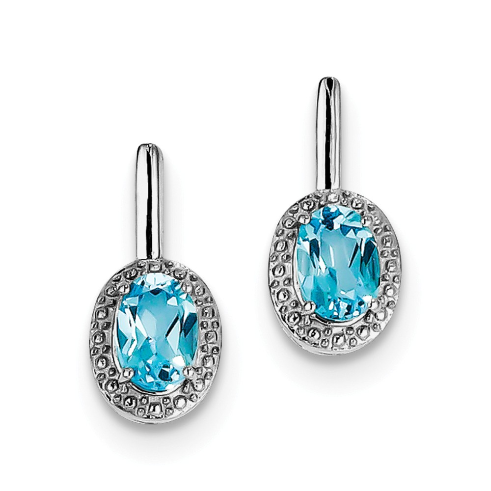 Sterling Silver Light Swiss Blue Topaz Oval Post Dangle Earrings. Gem Wt- 1.6ct (8MM Long x 4MM Wide)