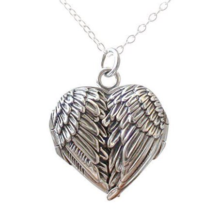 Sterling Silver Angel Wing Heart Locket Necklace 18