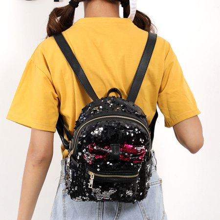 Fashion Sequins Bow Tie School Bag Backpack Satchel Women Travel Shoulder Bag