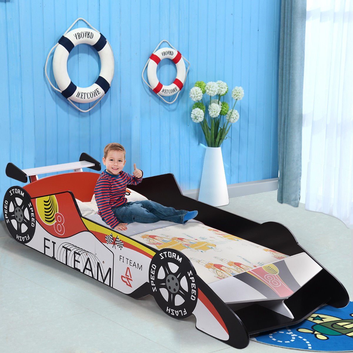 Gymax Kids Toddler Bed Race Car Children Bedroom Fun Play Boys and Girls Furniture