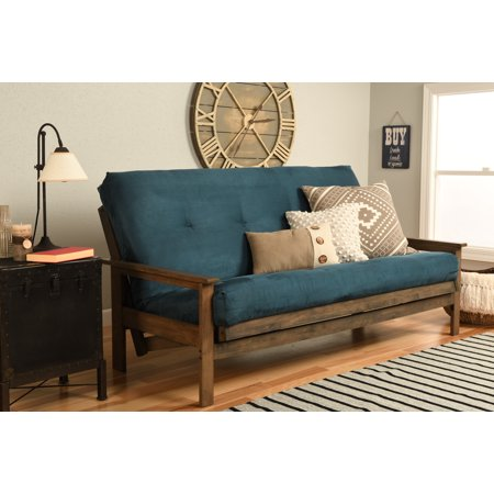 Image of Albany Futon in Rustic Walnut Finish, Multiple Suede Colors