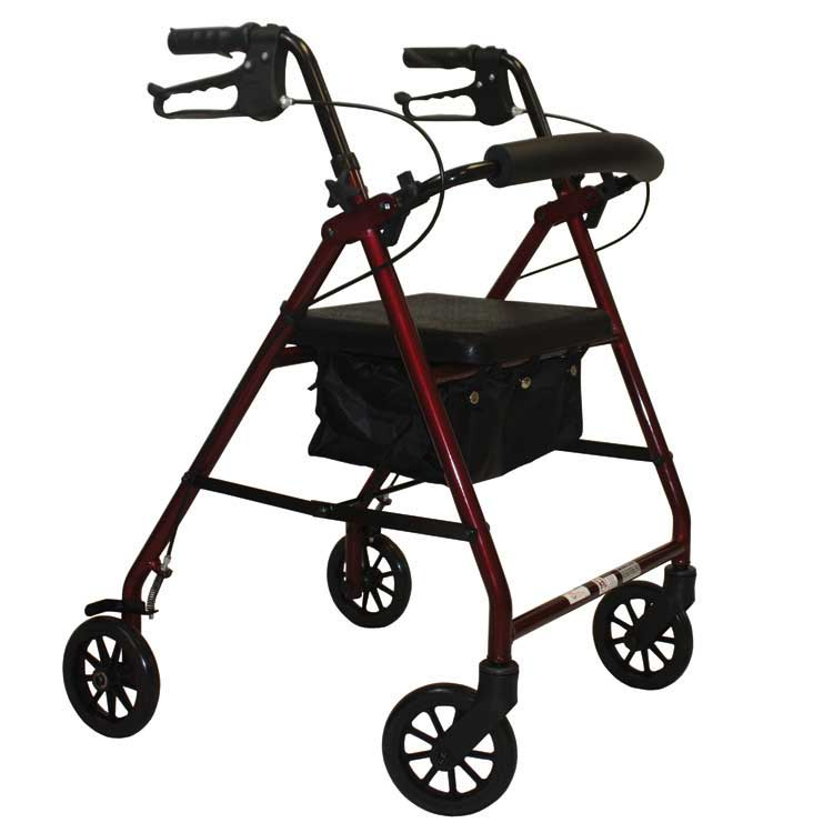 E-Series Rollator With Padded Seat Blue Steel