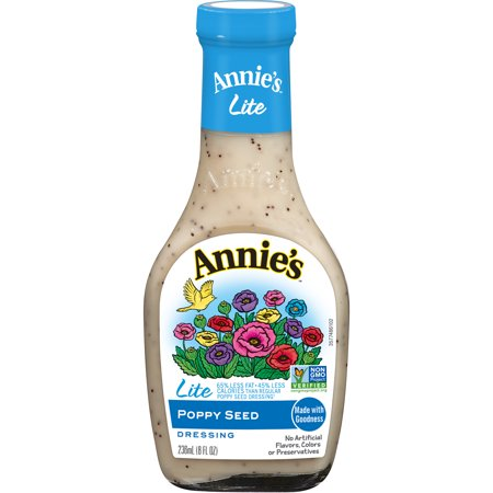 (3 Pack) Annie's Lite Poppy Seed Dressing, 8 Fl Oz Bottle