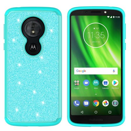 Moto G6 Play,Moto G6 Forge,Moto E5 Case,Cute Women Girls Glitter Bling Silicone Shock Proof Hybrid Case [Screen Protector] Dual Layer Protective Phone Case Cover for Motorola Moto G6 Play - Mint - image 4 de 6