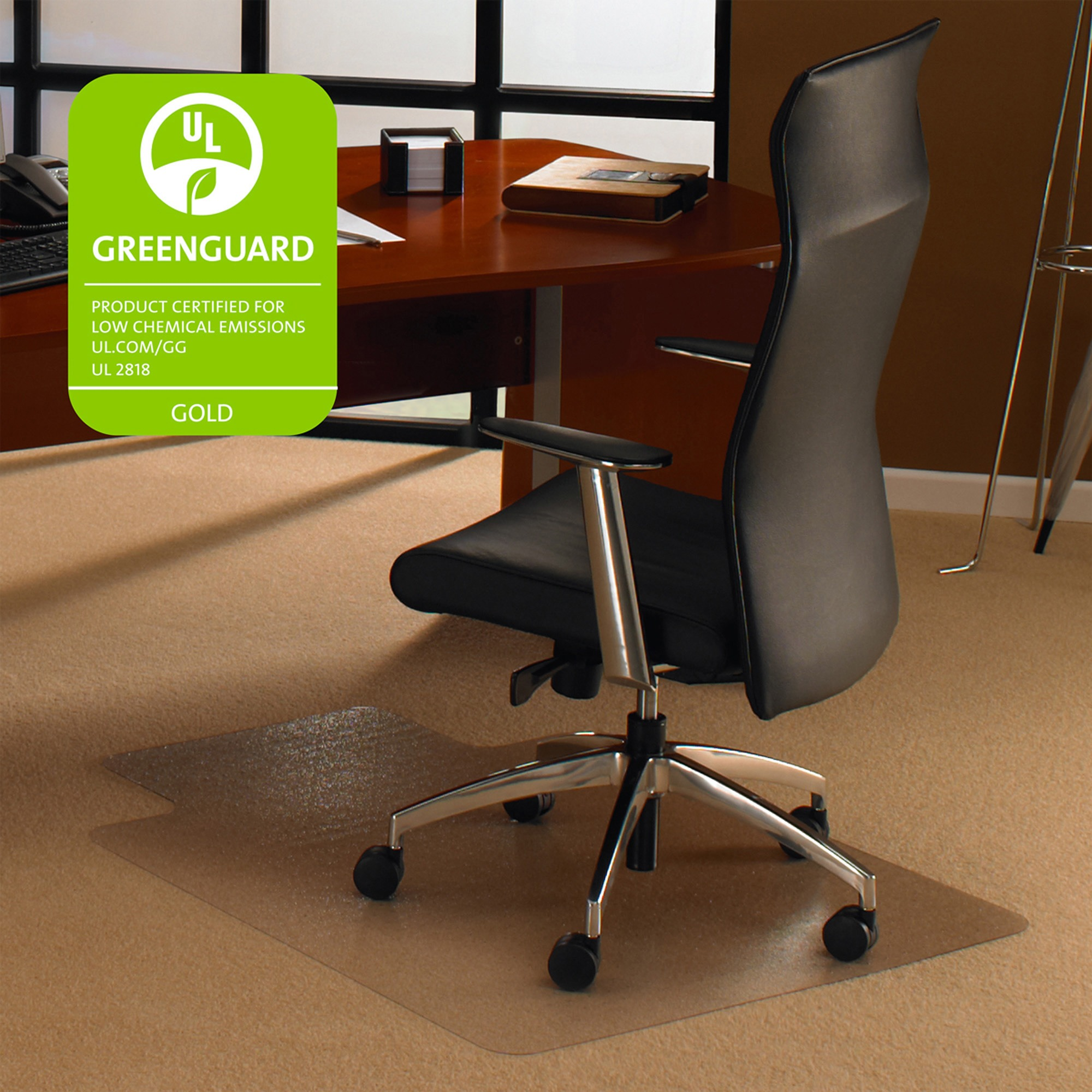 """Cleartex Ultimat Chair Mat   Clear Polycarbonate   For Low & Medium Pile Carpets (up to 1/2"""")   Rectangular with Lip   Size 35"""" x 47"""""""