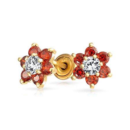 Bling Jewelry 14k Gold Flower Screw Back Baby Studs Simulated Garnet CZ
