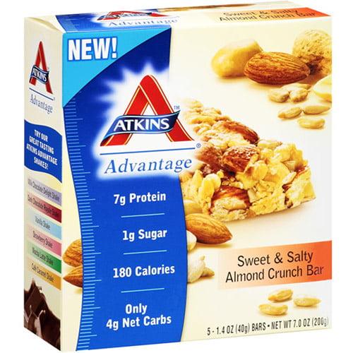 Atkins Advantage Sweet & Salty Almond Crunch Bar, 1.4 oz, 5ct