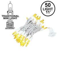 Novelty Lights 50 Light Christmas Mini Light Set, White Wire, 11' Long