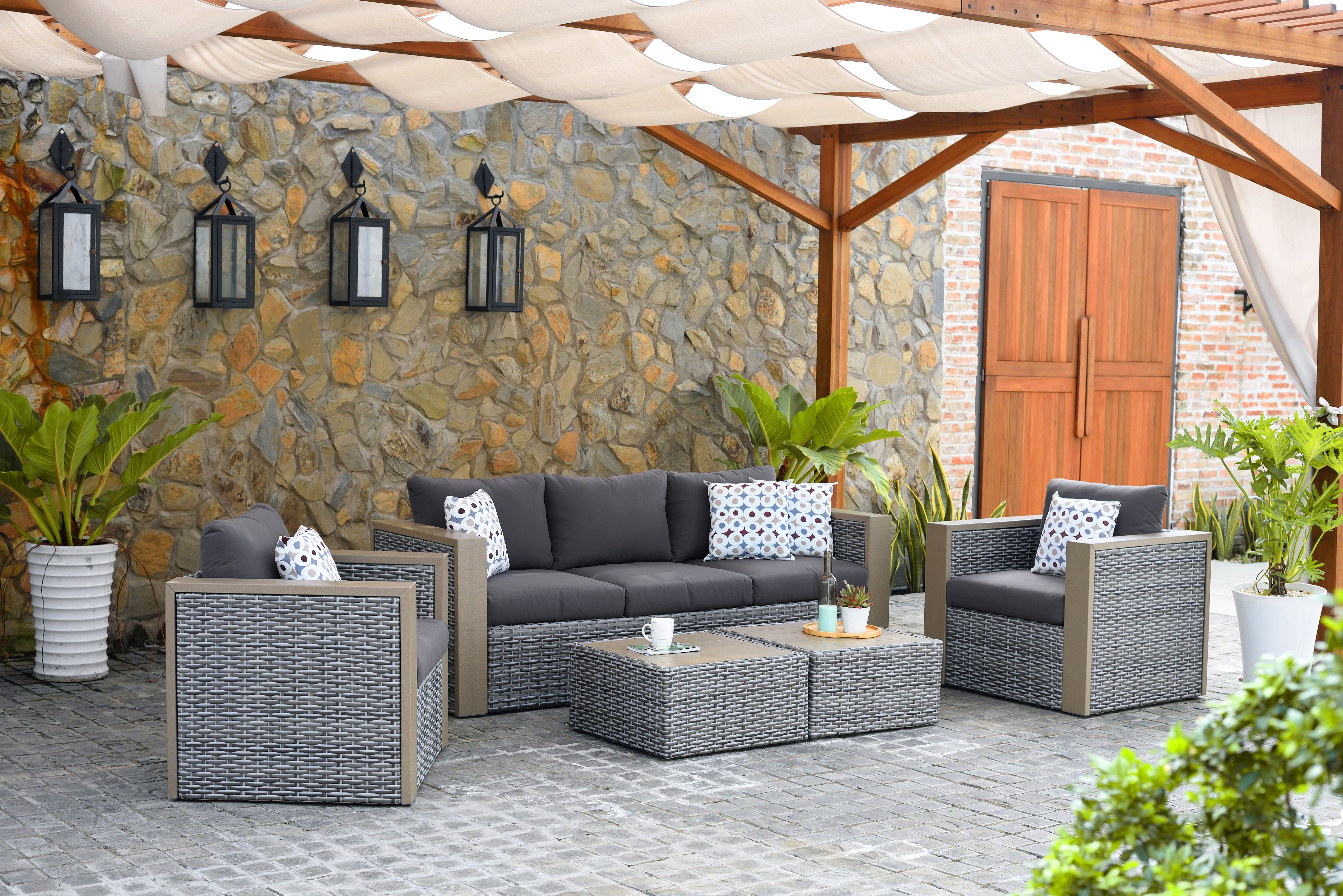 Mustang Outdoor All-Weather Wicker 5-Piece Patio Conversation Set, Grey by INTERNATIONAL HOME