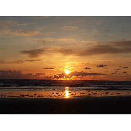 Canvas Print Ocean Sun Sky Sunset Beach Sunset Background Stretched Canvas  10 x 14