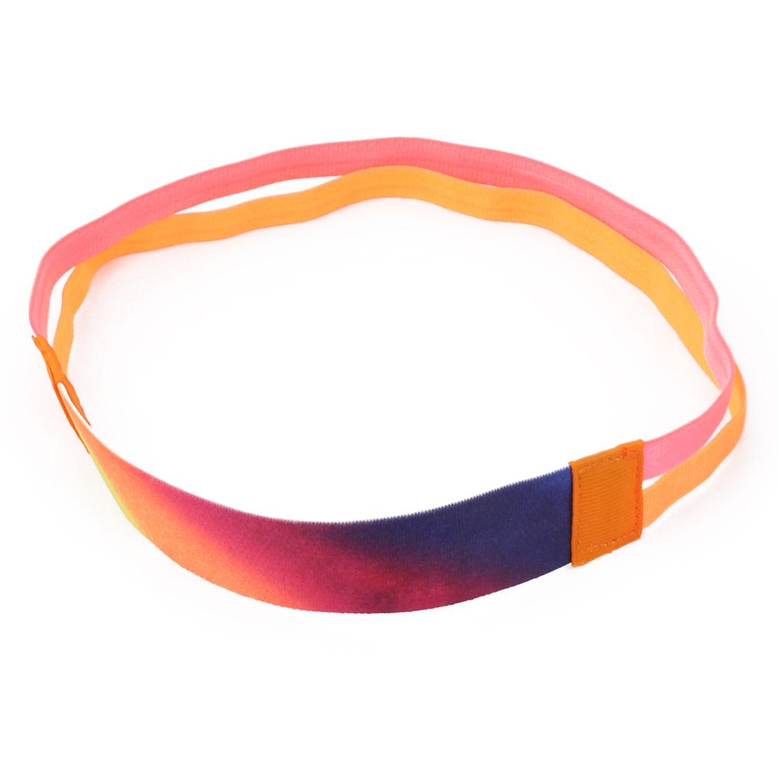Traning Silicone Double Line Design Non-slip Sports Headband Pink Orange