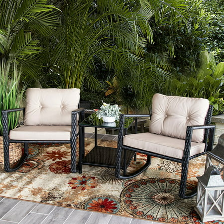 Barton 3PC Patio Set Chair Wicker Rattan Outdoor Rocking Chair Cushion Glass Coffee Table Set