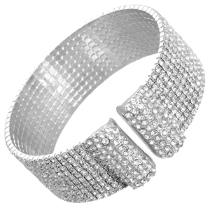 Zirconmania - Elegant Sparkling Cuff Bracelet Paved With Crystals