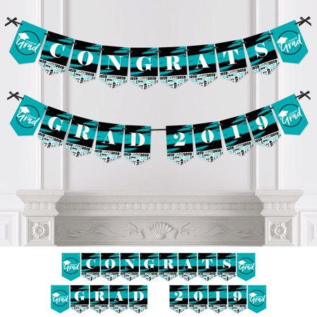Teal Grad - Best is Yet to Come - Turquoise Graduation Bunting Banner - Party Decorations - CONGRATS GRAD