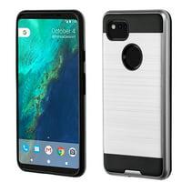 ASMYNA Dual Layer [Shock Absorbing] Hybrid Brushed Hard Plastic/Soft TPU Rubber Case Cover For Google Google Pixel 2 XL, Black