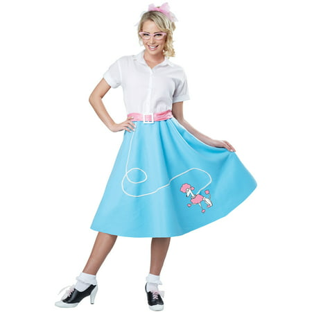 50s Blue Poodle Skirt Adult Costume - Adult Apple Costume
