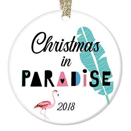 Christmas Flamingo (Pink Flamingo 2019 Ornament Christmas in Paradise Easy Island Beach Life Ceramic Present Holiday Tree Decoration Family Friends 3