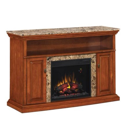 Brighton TV Stand with 23″ Infrared Quartz Fireplace, Golden Honey