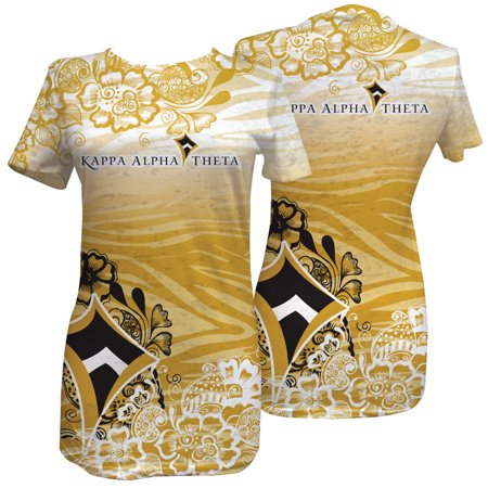 Burnout Zebra - Kappa Alpha Theta Gold Zebra Print Ladies Fashion Burnout Tee