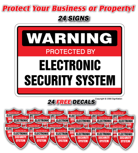 SECURITY SYSTEM SIGN ~24 Signs & 24 Free Decals~ alarm | Indoor/Outdoor | Business, Garages, Home, Offices | SignMission Wall Plaque
