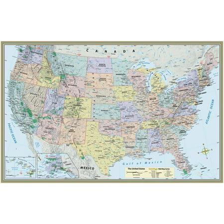 US MapPaper Poster Walmartcom - Us map poster walmart