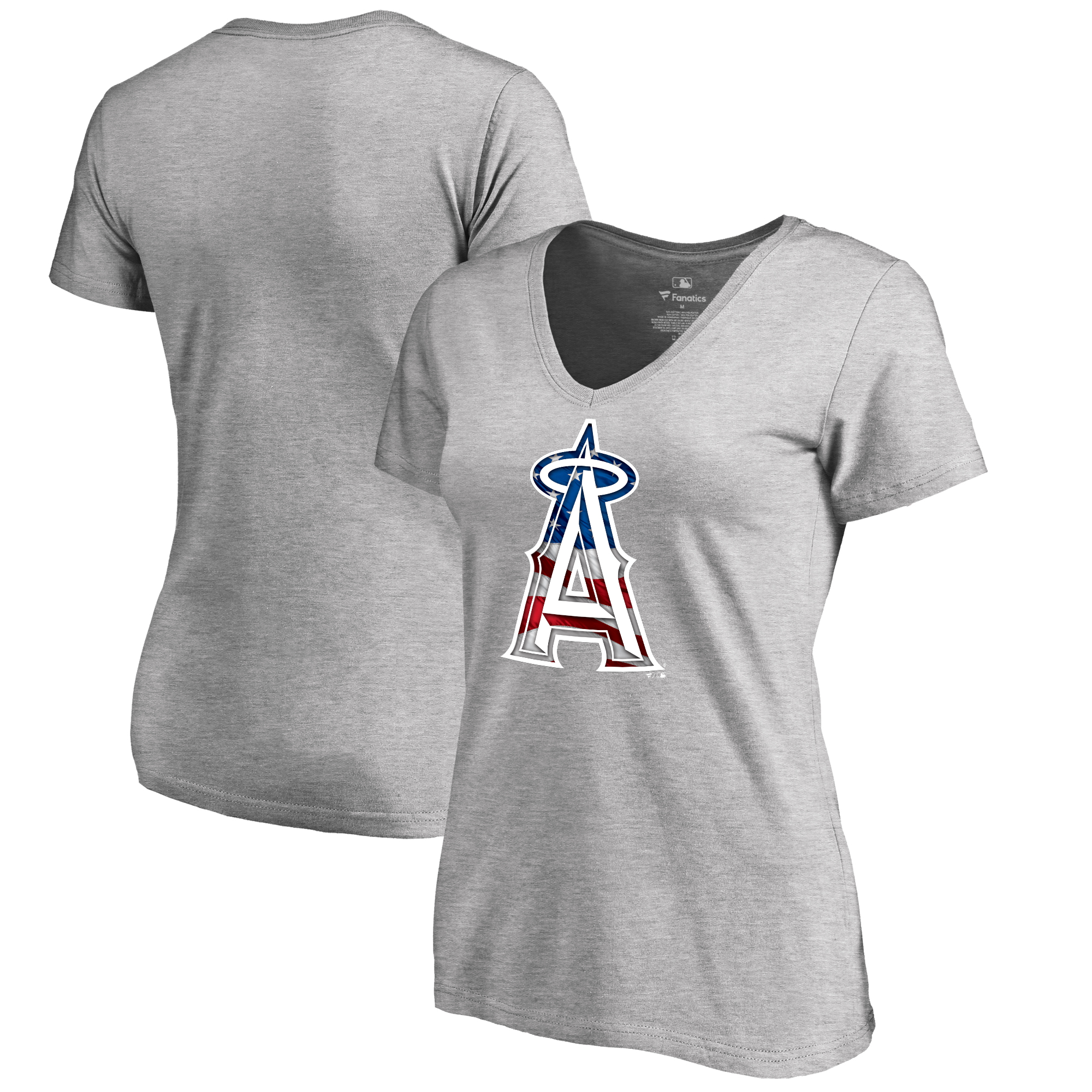 Los Angeles Angels Fanatics Branded Women's 2018 Memorial Day Banner Wave Plus Size T-Shirt - Heather Gray