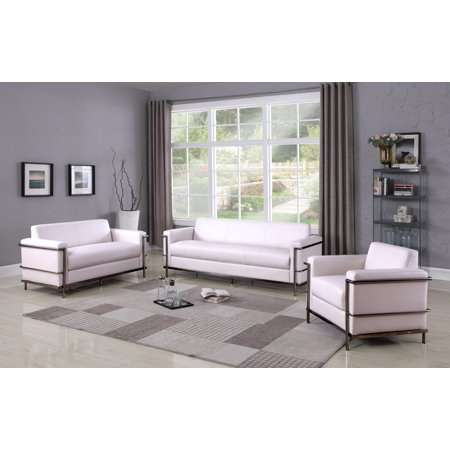 Contemporary Design White Faux Leather 3piece Sofa Set Living Room Furniture ()