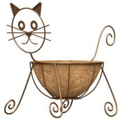 Rust Color Cat Design Planter With Coco Liner Powder Coated Steel Construction
