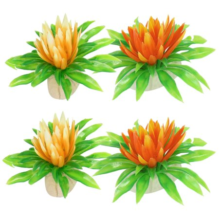 "4 Pcs Lotus Shape Assorted Color 2.2"" High Manmade Aquarium Plastic Plant Grass - image 1 de 1"
