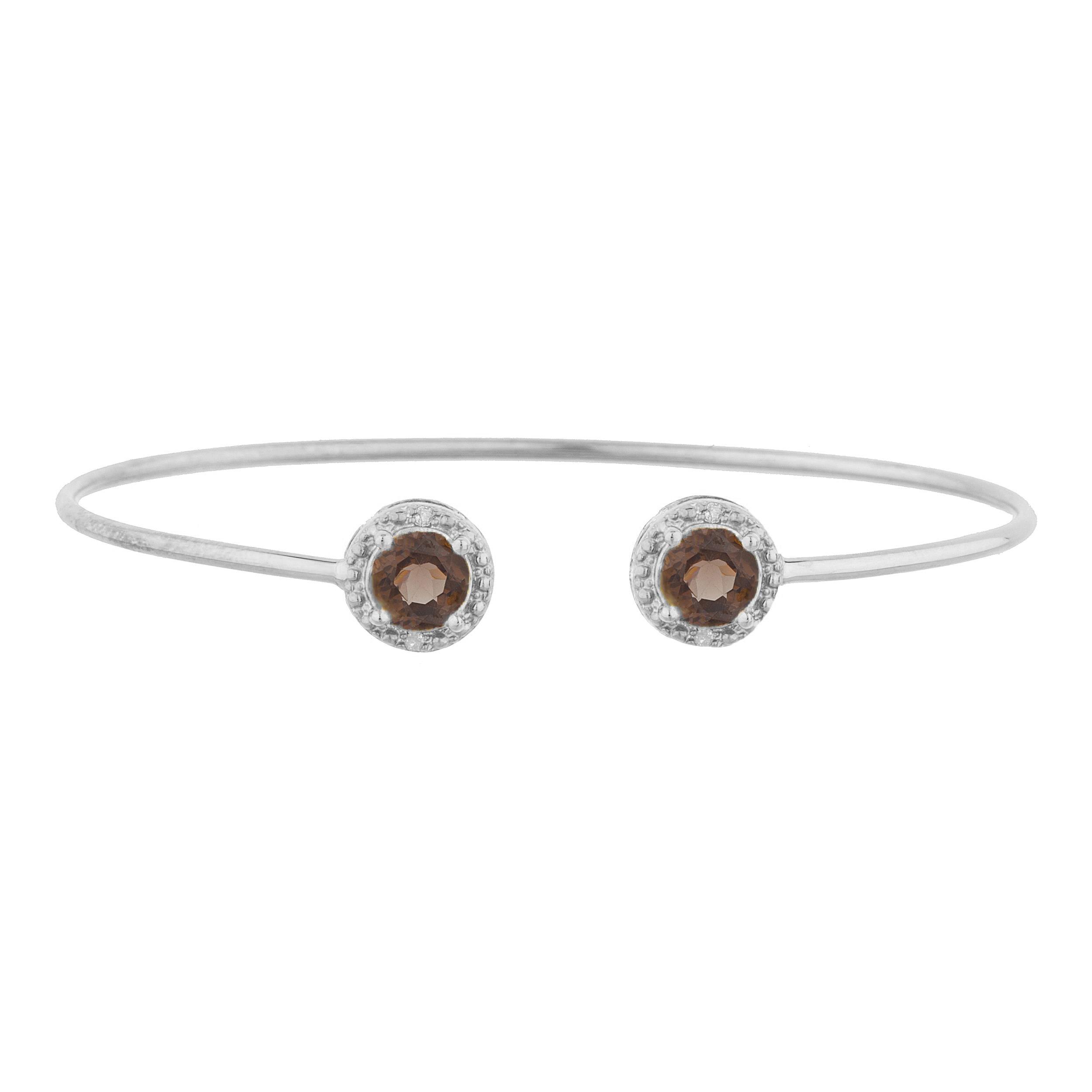 2 Ct Genuine Smoky Topaz & Diamond Round Bangle Bracelet .925 Sterling Silver by Elizabeth Jewelry Inc