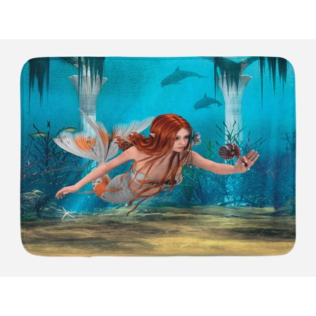 Mermaid Bath Mat, Lifelike Mermaid Holding a Sea Lily Magic Aquatic World Theme, Non-Slip Plush Mat Bathroom Kitchen Laundry Room Decor, 29.5 X 17.5 Inches, Pale Blue Burnt Sienna Yellow, - Kitchen Theme Decor