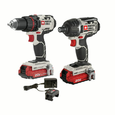 PORTER CABLE 20-Volt Max Lithium-Ion Cordless Drill & Impact Driver Combo Kit, PCCK602L2