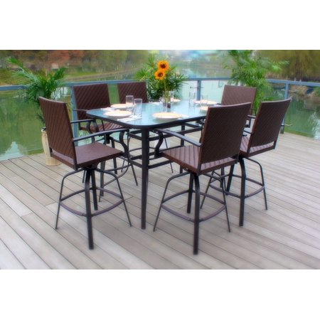 7pc Wicker Swivel  Bar Height Powder-Coated Steel Glass Top Patio Dining Set- Brown with Outdoor Cover (Powder Coated Aluminum Outdoor Furniture)