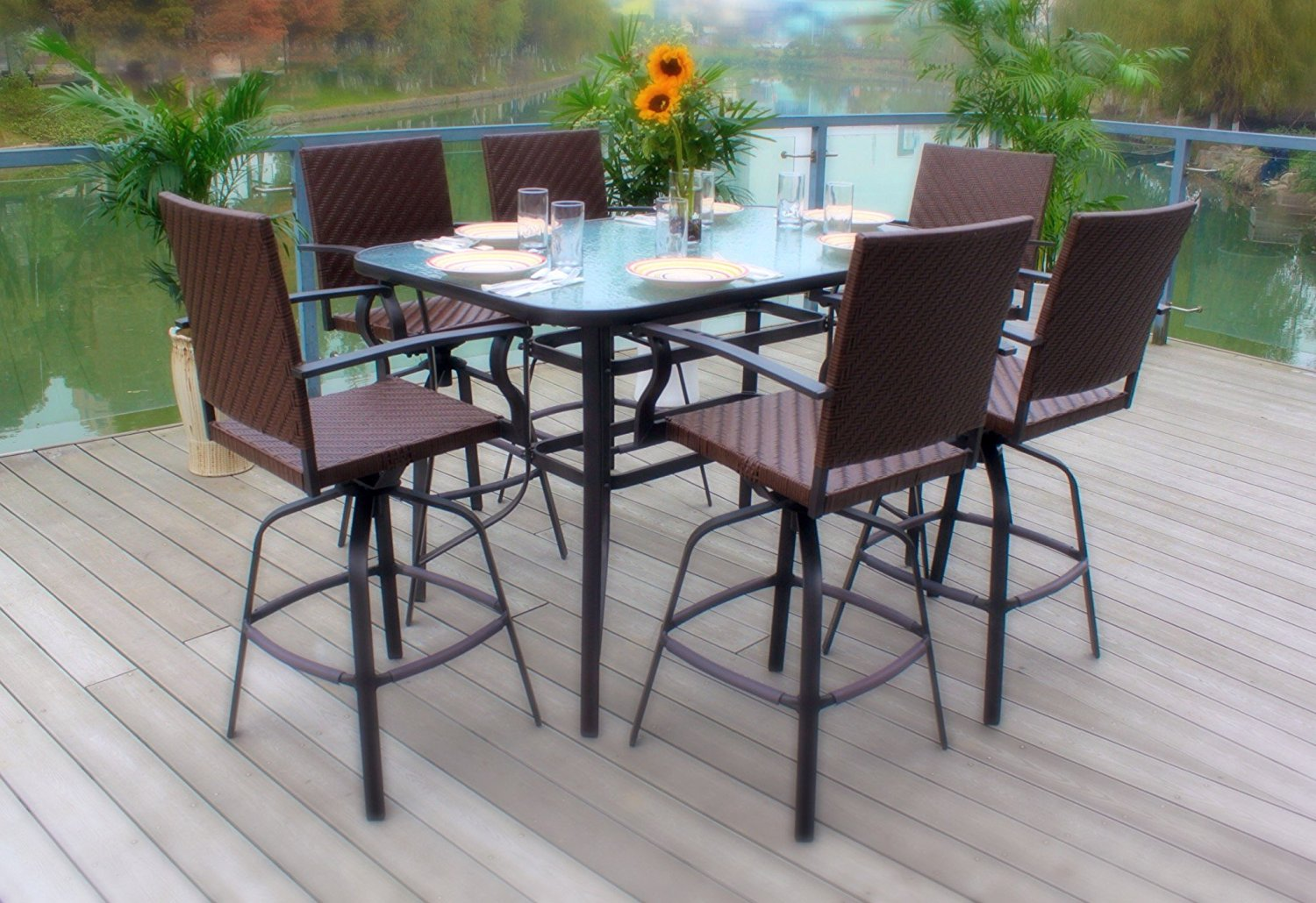 Lovely 7pc Wicker Swivel Bar Height Powder Coated Steel Glass Top Patio Dining Set   Brown
