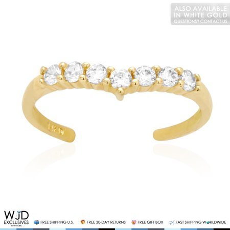 14k Solid Yellow Gold Round Cut Simulated White Diamond Fancy Toe Ring 0.40Ct