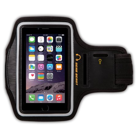 Gear Beast Sport Gym Running Armband with Key Holder and Reflective Safety Band for iPhone SE, iPhone 5s, iPhone 5, iPhone 5c, iPhone 4s, iPhone 4 and iPod Touch 5G
