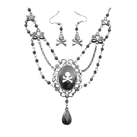 Earrings and Necklace with Pirate Cameo Set